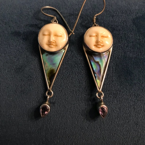 Bali Jewelry Sterling Carved Bone Face Abalone Earrings Poshmark